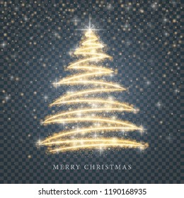 Stylized gold Merry Christmas tree silhouette from shiny circle particles on black transparent background. Vector golden christmas fir illustration eps10