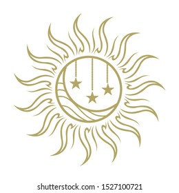 stylized gold sun, moon and stars, vector