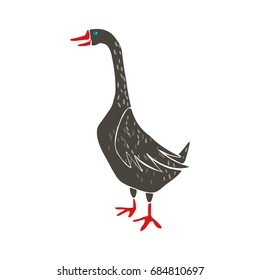 Stylized goose isolated on white. Hand drawn vector illustration.