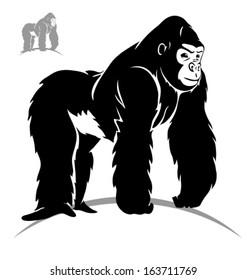 stylized gorilla. Black outlines - vector illustration