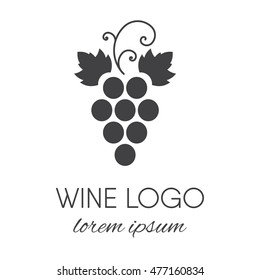 Stylized grapes logo. Wine or vine logotype icon. Brand design element for organic wine, wine list, menu, liquor store, selling alcohol, wine company. Vector illustration.