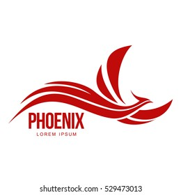 Stylized graphic phoenix bird flying with expanded wings logo template, vector illustration isolated on white background.