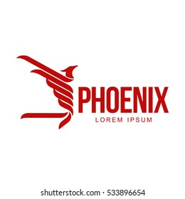 Stylized graphic phoenix bird flying with expanded wings logo template, vector illustration isolated on white background. Phoenix bird logotype template, freedom, development, creativity concept