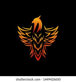 Stylized graphic phoenix bird tribal logo template, vector illustration isolated on black background. Phoenix in fire logotype template, revival, rebirth, resurrection concept