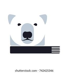Stylized graphic polar bear illustration. Collection of creative polar bear illustration, growth, development, power concept. Vector illustration isolated on white background.