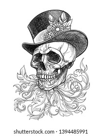 Stylized graphic skull in the hat in the style of steampunk