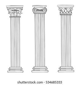 Stylized Greek column. Doric. Ionic. Corinthian columns. Vector illustration. Black and white graphics. Classical architectural support.