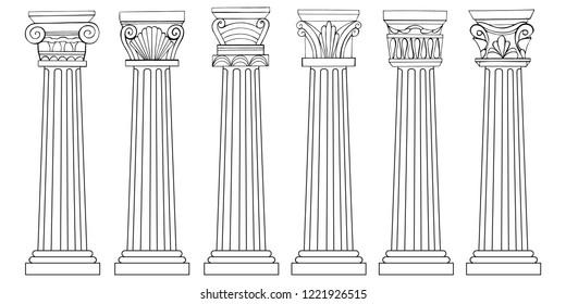 Stylized Greek columns. Doric. Ionic. Corinthian columns. Vector illustration. Black and white graphics.