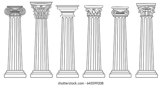 Stylized Greek columns. Doric. Ionic. Corinthian columns. Vector illustration. Black and white graphics.