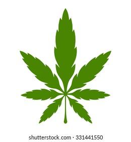 Stylized Green Marijuana Pot Weed Leaf vector logo