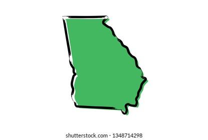 Stylized green sketch map of Georgia (USA)