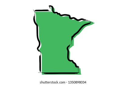 Stylized green sketch map of Minnesota