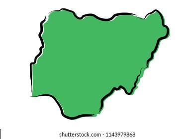 Stylized green sketch map of Nigeria
