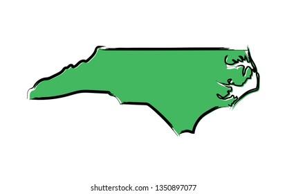 Stylized green sketch map of North Carolina