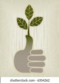 Stylized Green Thumb/Thumbs Up Concept Icon; Easy-edit layered file.