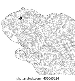 Stylized groundhog (gopher, marmot, woodchuck or beaver), isolated on white background. Freehand sketch for adult anti stress coloring book page with doodle and zentangle elements.