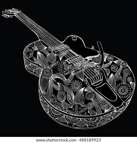 Immagine Vettoriale A Tema Stylized Guitar Retro Guitar Jazz