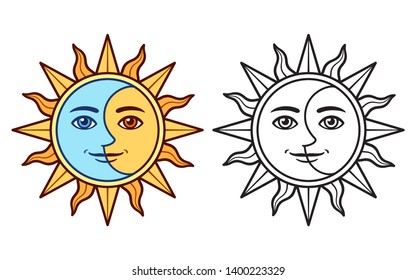 Stylized half sun half moon face, black and white drawing and color version. Vintage boho tattoo symbol, vector clip art illustration.