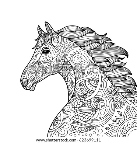 Stylized Hand Drawn Head Horse Coloring Stock Vector