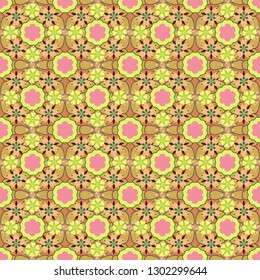 Stylized hand drawn little flowers. Vector flower miniprint seamless pattern in yellow, beige and pink colors.