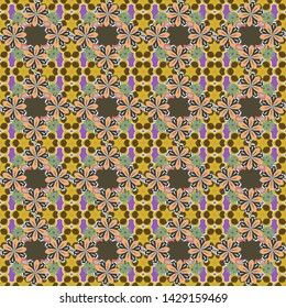 Stylized hand drawn little flowers. Vector flower miniprint seamless pattern in brown, gray and yellow colors.