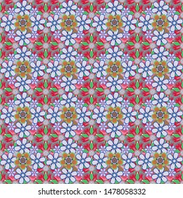 Stylized hand drawn little flowers. Vector flower miniprint seamless pattern in blue, green and red colors.