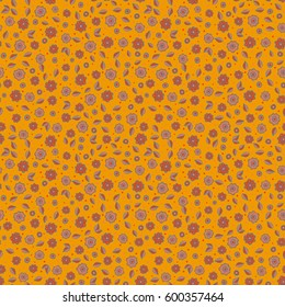 Stylized hand drawn little flowers. Vector flower miniprint seamless pattern on a yellow background.