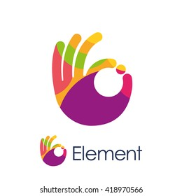Stylized hand OK sign colored circles logo