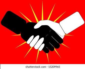 stylized handshake on red