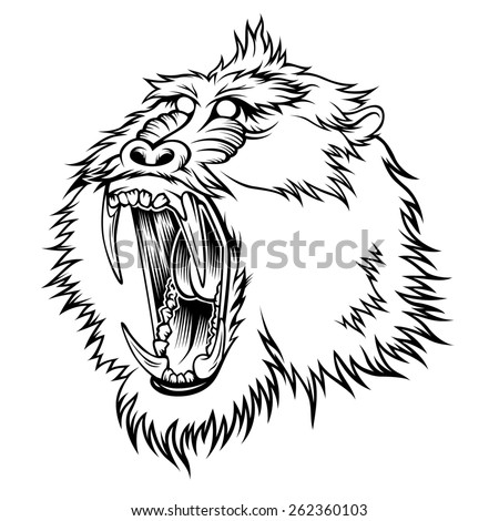 9d3878b3f Stylized Head Aggressive Monkey Illustration Your Stock Vector ...