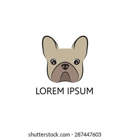 Stylized head of a dog on light background. Logo design for the company.