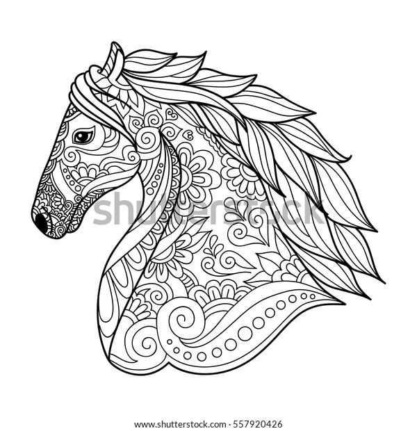 Stylized Head Horse Coloring Book Adults Stock Vector (Royalty Free ...