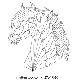 Stylized head of horse. Equestrian logo, emblem for t-shirts, prints, horse tattoo, black isolated on white background, vector illustration.