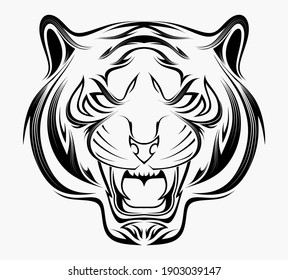 Stylized head of a tiger in the style of Zentangle.