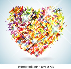 Stylized Heart Illustration made up of thousands of colorful shattered shapes