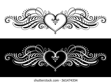 Stylized Heart with Wings in Vector. Decorative Ornamental Element for Your Design.