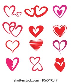 stylized hearts collection, isolated vector symbols