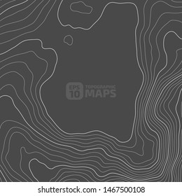 Stylized height of a topographic contour in lines and contours. Concept of a conditional geography scheme and the terrain path. In dark colors. Vector illustration.