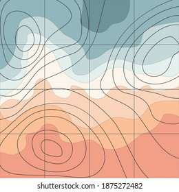 The stylized height of the topographic contour in lines and contours. Marine watershed. The concept of a conditional geography scheme and the water path. Vector illustration.