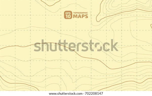 The stylized height of the topographic contour in lines and contours. Yellow Background. The concept of a conditional geography scheme and the terrain path. Vector illustration