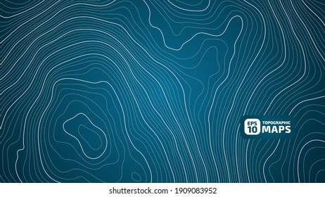 The stylized height of the topographic map contour in lines and contours. Marine watershed. The concept of a conditional geography scheme and the water path. Vector illustration.