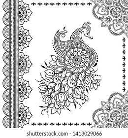 Stylized with henna tattoo decorative pattern for decorating covers book, notebook, casket, postcard and folder. Mandala, flower, peacock and border in mehndi style. Frame in the eastern tradition.
