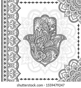 Stylized with henna tattoo decorative pattern for decorating covers book, notebook, casket, postcard and folder. Mandala, Hamsa and border in mehndi style. Frame in the eastern tradition.