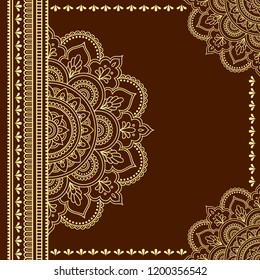 Stylized with henna tattoos decorative pattern for decorating covers for book, notebook, casket, magazine, postcard and folder. Mandala and border in mehndi style. Frame in the eastern tradition.