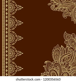 Stylized with henna tattoos decorative pattern for decorating covers for book, notebook, casket, magazine, postcard and folder. Flower and border in mehndi style. Frame in the eastern tradition.