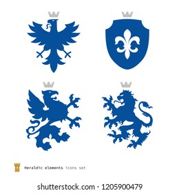 Stylized heraldry elements, mythical creatures and shield. Blue silhouettes isolated on white