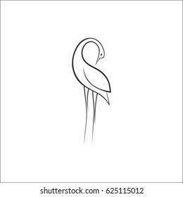 Stylized Heron. Line draw