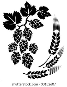 Stylized hop and ears on a white background.