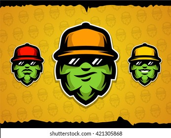 Stylized hop head mascot illustration