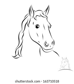 stylized horse head. Front view. Black outlines - vector illustration